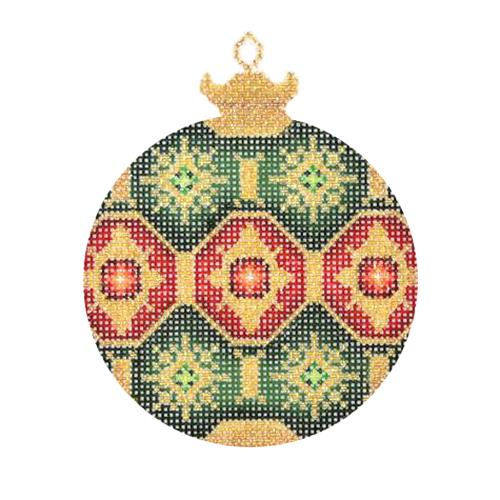 Jeweled Christmas Ball - Dark Green & Gold Painted Canvas Burnett & Bradley