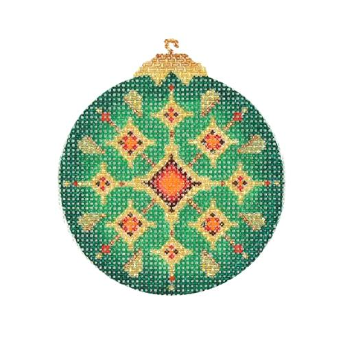 Jeweled Christmas Ball - Green & Gold with Red Jewels Painted Canvas Burnett & Bradley
