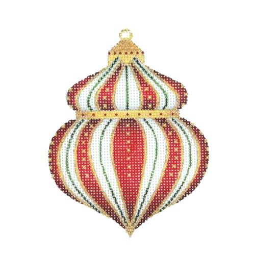 Jeweled Christmas Ball - Red & Gold Painted Canvas Burnett & Bradley