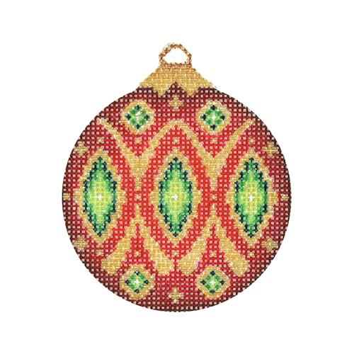 Jeweled Christmas Ball - Red & Gold with Green Jewels Painted Canvas Burnett & Bradley