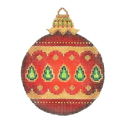 Jeweled Christmas Ball - Red with Green Jewels Painted Canvas Burnett & Bradley