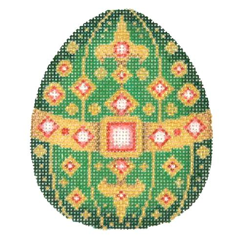 Jeweled Egg - Green & Gold Painted Canvas Burnett & Bradley