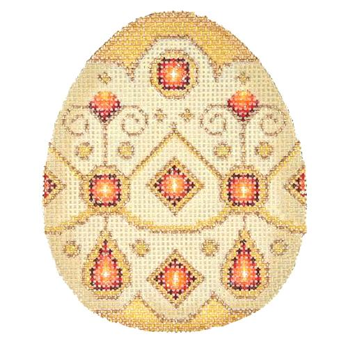 Jeweled Egg - Ivory & Gold Painted Canvas Burnett & Bradley