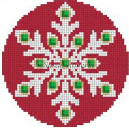 Jeweled Red Snowflake Painted Canvas Susan Roberts Needlepoint Designs, Inc.