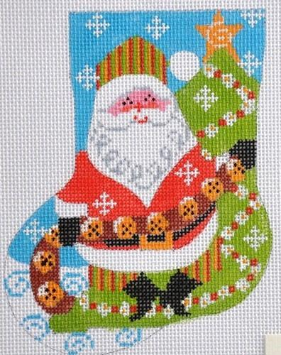 Jingle Bells Mini Stocking Painted Canvas Danji Designs