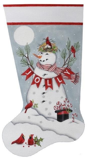 Jolly Snowman Stocking Painted Canvas Mary Lake Thompson