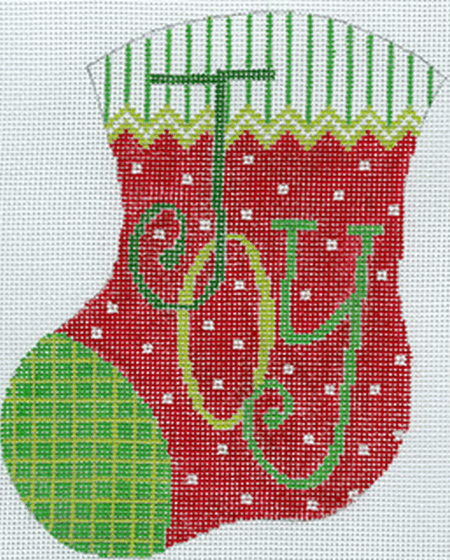JOY Mini Stocking Painted Canvas The Meredith Collection