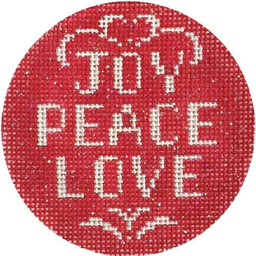 Joy Peace Love Ornament Painted Canvas Alice Peterson Company