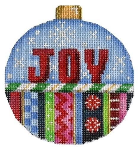 Joy / Stripes Ball Ornament Painted Canvas Associated Talents