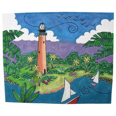 Jupiter's Lighthouse Painted Canvas Purple Palm Designs