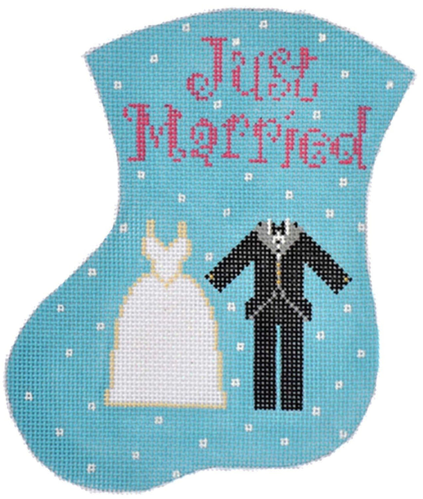 Just Married Mini Stocking - Gown and Tux Painted Canvas The Meredith Collection