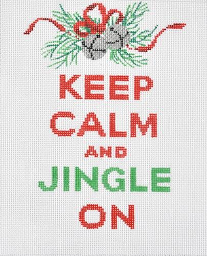 Keep Calm and Jingle On Painted Canvas Kate Dickerson Needlepoint Collections
