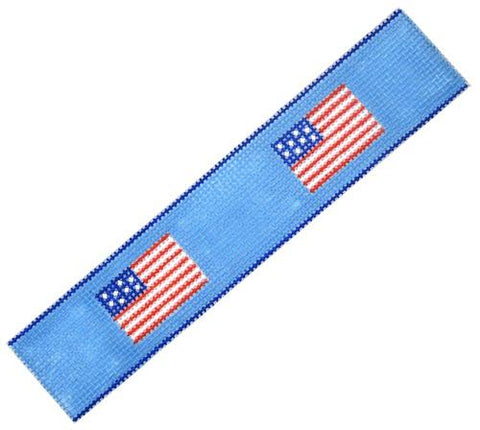 Key Fob American Flags Painted Canvas Kate Dickerson Needlepoint Collections