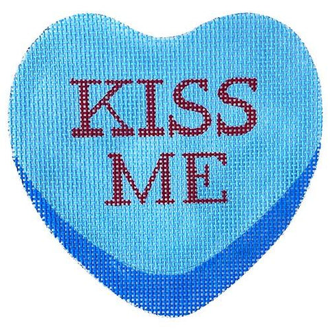 Kiss Me Valentine's Heart Painted Canvas All About Stitching/The Collection Design