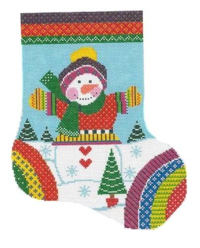 Knitted Snowman Midi-Stocking Painted Canvas Shelly Tribbey