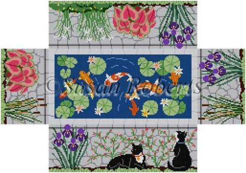 Koi Pond Brick Cover Painted Canvas Susan Roberts Needlepoint Designs, Inc.