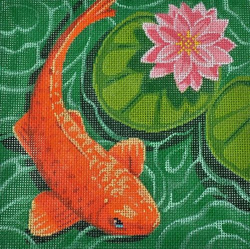 Koi with Pink Flower Painted Canvas Labors of Love Needlepoint