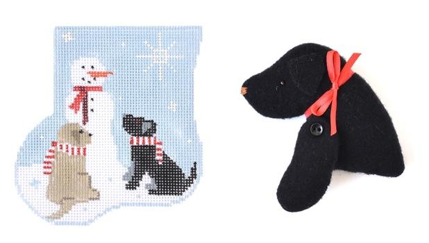 Labs with Snowman Mini-Sock with Lab Insert Painted Canvas Kathy Schenkel Designs