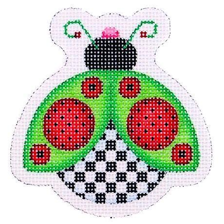 Lady Bug - Green, Red & Black Painted Canvas Burnett & Bradley