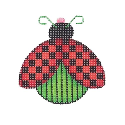 Lady Bug - Red & Black Checkered Painted Canvas Burnett & Bradley