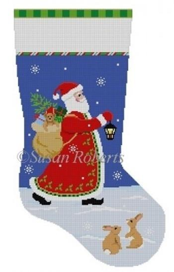 Lantern Walk Stocking Painted Canvas Susan Roberts Needlepoint Designs, Inc.