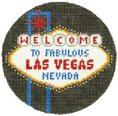 Las Vegas Ornament Painted Canvas Silver Needle