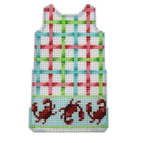 Lattice/Crabs Border Mini Shift Painted Canvas Two Sisters Needlepoint