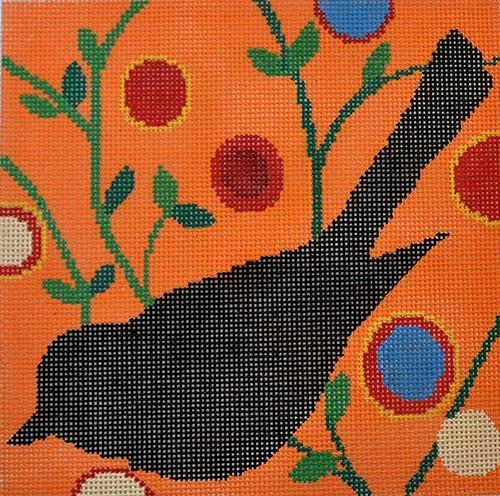 Laura Nugent Bird - Black on Orange Painted Canvas Stitch-Its