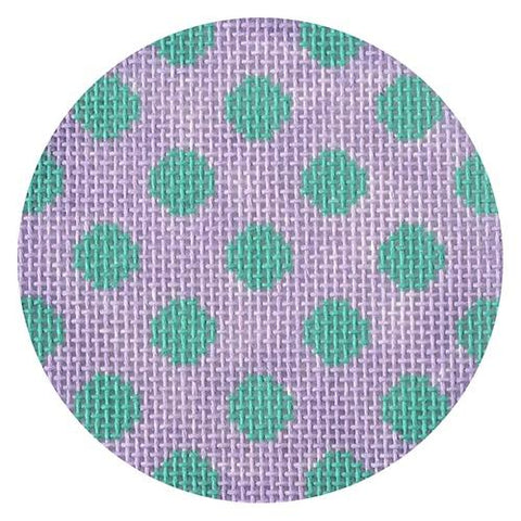 Lavender/Teal Polka Dot Round Painted Canvas Kate Dickerson Needlepoint Collections