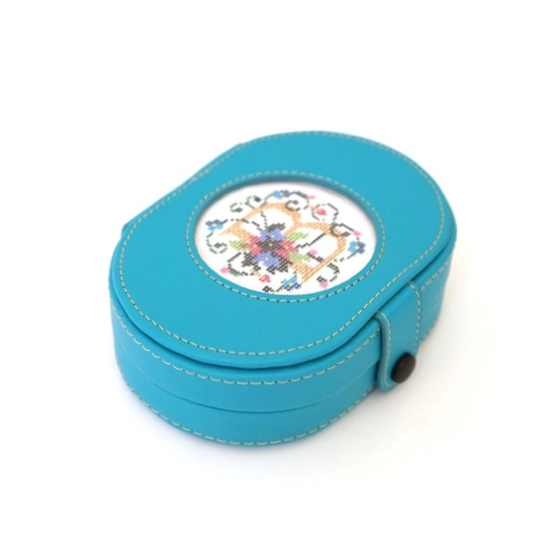 Leather Needle Box with Magnets - Teal Leather Goods Lee's Leather Goods