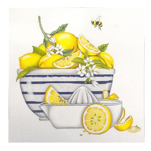 Lemon Bowl Painted Canvas Mary Lake Thompson
