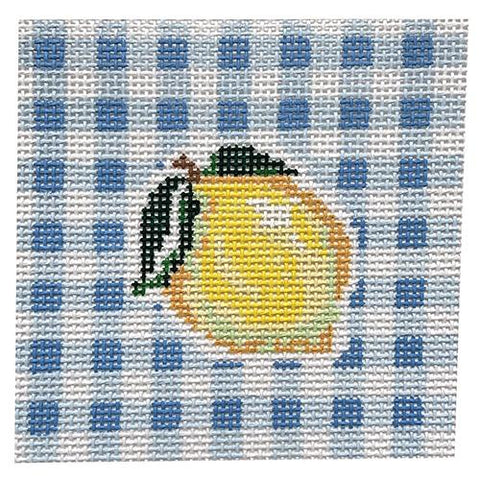 Lemon on Gingham Painted Canvas KCN Designers