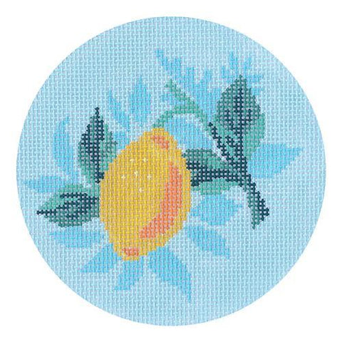 Lemon Round Painted Canvas Abigail Cecile