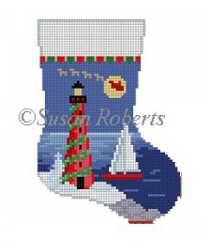 Lighthouse Mini Sock Painted Canvas Susan Roberts Needlepoint Designs Inc.