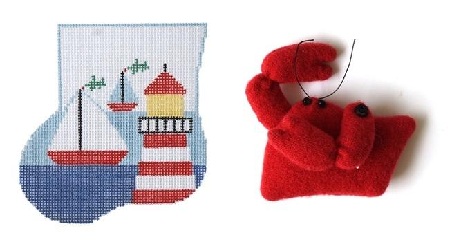 Lighthouse Mini-Sock with Crab Insert Painted Canvas Kathy Schenkel Designs