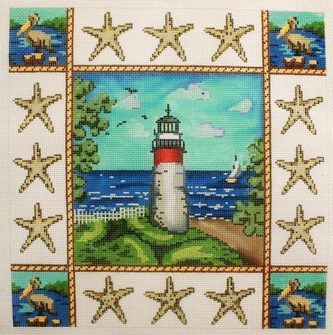 Lighthouse Pillow Painted Canvas Gayla Elliott