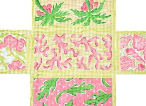 Lilly Inspired Lattice Patchwork Brick Cover Painted Canvas Kate Dickerson Needlepoint Collections