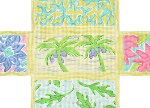 Lilly Inspired Lattice Patchwork Turquoise Brick Cover Painted Canvas Kate Dickerson Needlepoint Collections