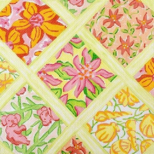 Lilly Lattice Patchwork Medium Square - Yellows Painted Canvas Kate Dickerson Needlepoint Collections