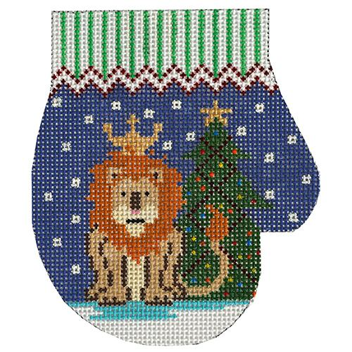 Lion with Tree Mitten Painted Canvas The Meredith Collection
