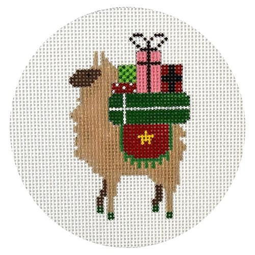 Llama Christmas Presents Painted Canvas Danji Designs