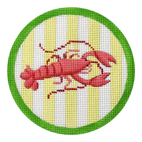 Lobster on Green Cabana Stripe Ornament Painted Canvas Kate Dickerson Needlepoint Collections