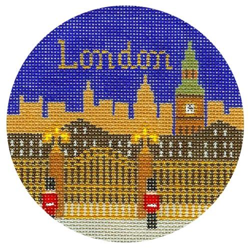 London Ornament Painted Canvas Silver Needle