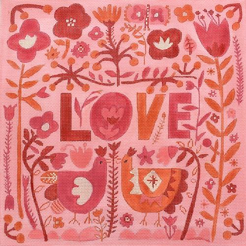 Love with Flowers and Chickens Painted Canvas Kate Dickerson Needlepoint Collections