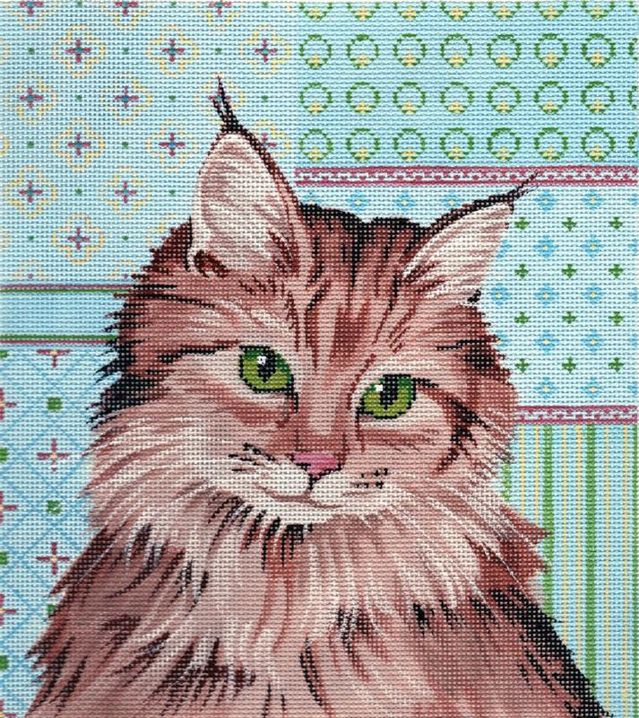 Maine Coone Cat Painted Canvas Labors of Love Needlepoint