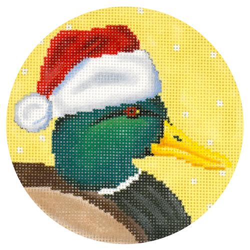 Mallard Duck with Santa Hat Painted Canvas Scott Church Creative