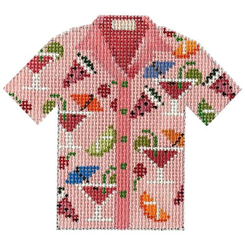 Martini Shirt Painted Canvas JP Needlepoint