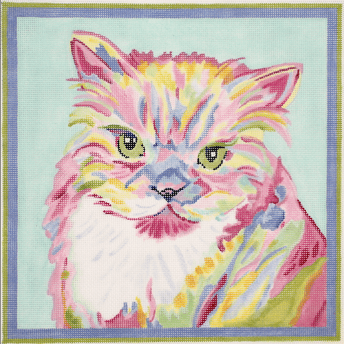 Megan Carn Persian Cat Painted Canvas Kate Dickerson Needlepoint Collections