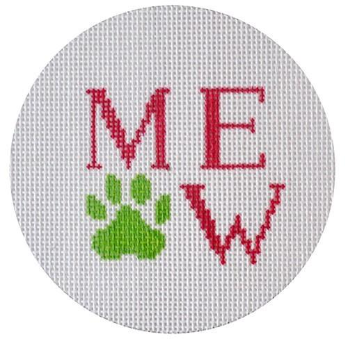 Meow and Paw Print - Pink and Green Painted Canvas NeedleDeeva