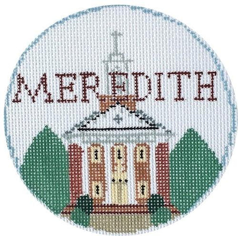 Meredith College Round Painted Canvas Kathy Schenkel Designs